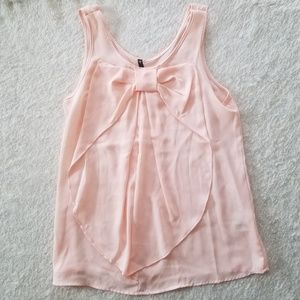 Light Pink Bow Front Tank Top size Small